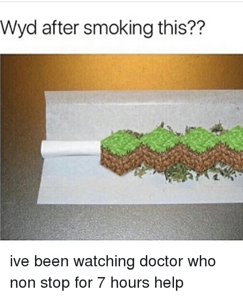 Doctor, Memes, and Smoking: Wyd after smoking this?? ive been watching doctor who non stop for 7 hours help
