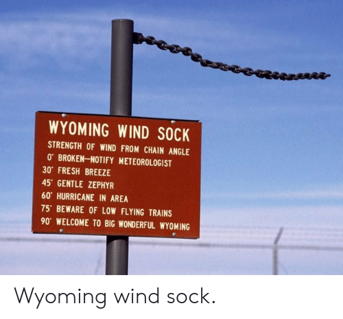 Wyoming Wind Sock Strength Of Wind From Chain Angle 0 Broken Notify