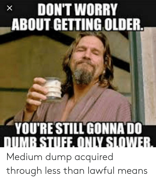 Dumb, Stuff, and Medium: x DON'T WORRY  ABOUT GETTING OLDER  YOU'RE STILLGONNA DO  DUMB STUFF, ONLY SLOWER Medium dump acquired through less than lawful means