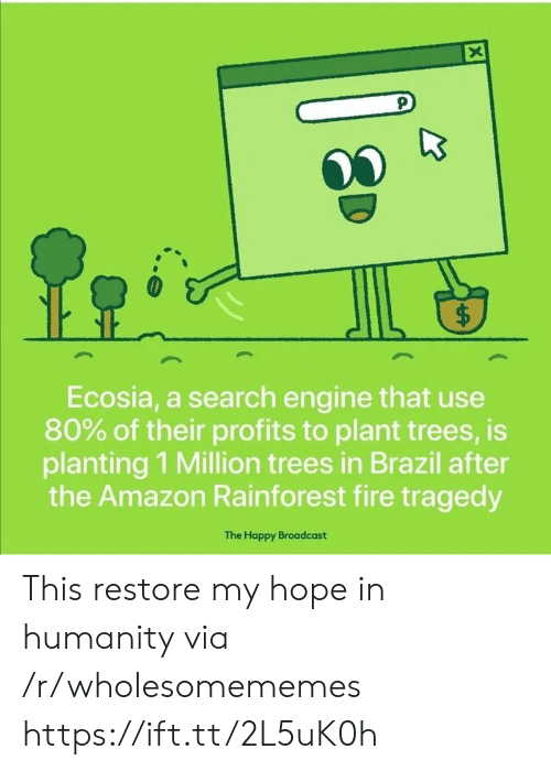 Amazon, Fire, and Brazil: X  $  Ecosia, a search engine that use  80% of their profits to plant trees, is  planting 1 Million trees in Brazil after  the Amazon Rainforest fire tragedy  The Happy Broadcast  ( This restore my hope in humanity via /r/wholesomememes https://ift.tt/2L5uK0h