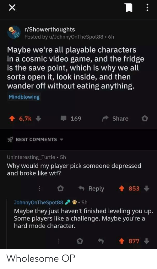 Wtf, Best, and Game: X  r/Showerthoughts  Posted by u/JohnnyOnTheSpot88 6h  Maybe we're all playable characters  in a cosmic video game, and the fridge  is the save point, which is why we all  sorta open it, look inside, and then  wander off without eating anything.  Mindblowing  6,7k  Share  169  BEST COMMENTS  Uninteresting_Turtle 5h  Why would my player pick someone depressed  and broke like wtf?  853  Reply  5h  JohnnyOnTheSpot88  Maybe they just haven't finished leveling you up.  Some players like a challenge. Maybe you're a  hard mode character.  877 Wholesome OP