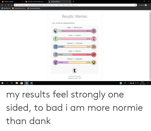 Bad, Dank, and Ironic: X  S Results Memes  Tjust got my test results back... Di X  Submit to Reddit  O Niet beveiligd | www.dichotomytests.com/results.html?id=4&e=-50&i=-60&a=-40&d=-10&p=-25  Incognito  6 Zorgbemiddelingsb...  Booking.com  Geïmporteerd uit In...  Results: Memes  Your results are displayed below:  Edgy vs Wholesome  14.3%  85.7%  Ironic vs Sincere  92.9%  Abstract vs Concrete  78.6%  21.4%  Dank vs Normie  42.9%  57.1%  Political vsRelatable  67.9%  32.1%  t  #ThankYouPewDiePie  Dichotomy Tests 2019  09:32  Xl  xp  24-7-2019  .. my results feel strongly one sided, to bad i am more normie than dank
