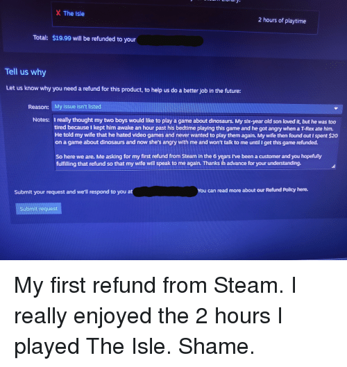 does steam refund games over 2 hours