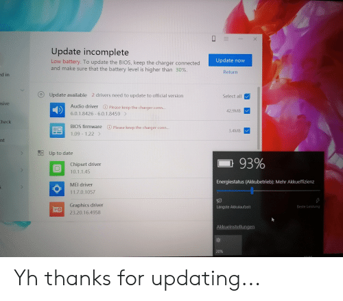 X Update Incomplete Update Now Low Battery to Update the