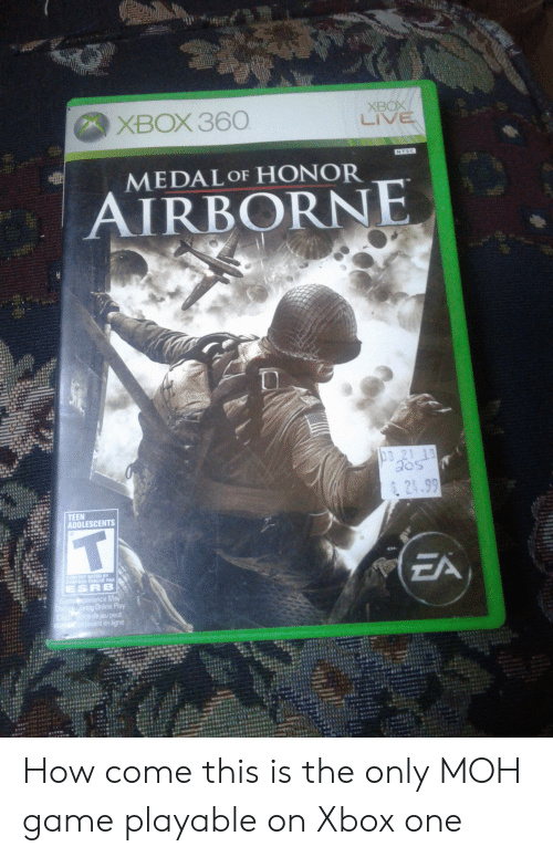 XBOX 360 XBOX LIVE NTSC MEDAL OF HONOR AIRBORNE 03 21 19 Aos