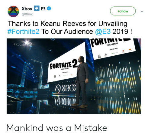 Xbox E3 Follow Thanks to Keanu Reeves for Unvailing