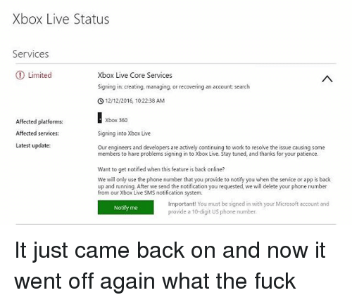 Xbox Live Status Services Limited Xbox Live Core Services