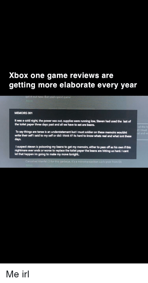 Xbox One Game Reviews Are Getting More Elaborate Every Year