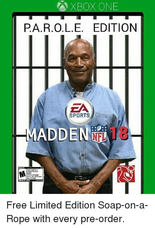 Nfl, Sports, and Xbox One: XBOX ONE  PA.R.O.L.E. EDITION  ZA  SPORTS  DEN N18 Free Limited Edition Soap-on-a-Rope with every pre-order.
