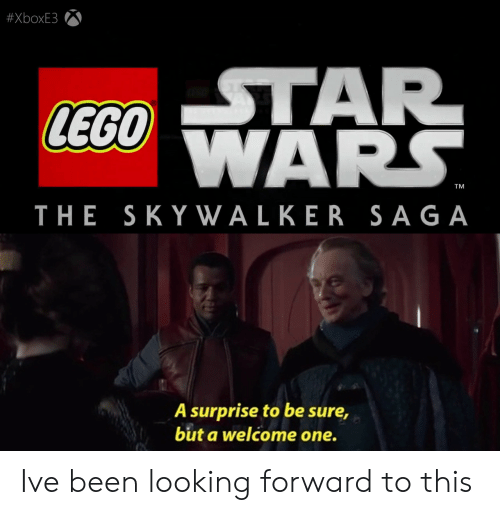 Lego, Star, and Been:  #XboxE3  STAR  LEGO ARS.  TM  THE SKY WALKER SAGA  A surprise to be sure,  but a welcome one. Ive been looking forward to this