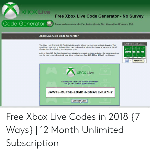 Xboxlive Free Xbox Live Code Generator No Survey Code Generator Try Our Code Generators For Play Station Google Play Minecraft And Pokemon Tcg Xbox Live Gold Code Generator Xbox Cards Wth