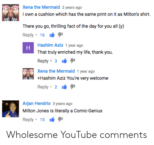 Life, youtube.com, and Thank You: Xena the Mermaid 2 years ago  Iown a cushion which has the same print on it as Milton's shirt.  There you go, thrilling fact of the day for you all (y)  Reply . 16 יי  Hashim Aziz 1 year ago  That truly enriched my life, thank you.  Reply . 3 י  Xena the Mermaid 1 year ago  +Hashim Aziz You're very welcome  Reply. 2 ιά  Arjan Hendrix 3 years ago  Milton Jones is literally a Comic-Genius  Reply . 15 יי Wholesome YouTube comments