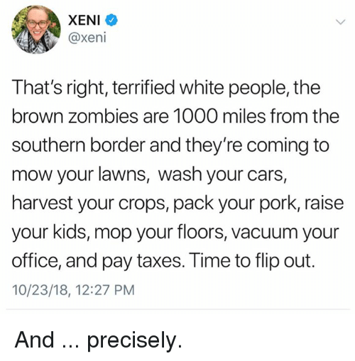 Cars, Memes, and White People: XENI  @xeni  That's right, terrified white people, the  brown zombies are 1000 miles from the  southern border and they're coming to  mow your lawns, wash your cars,  harvest your crops, pack your pork, raisee  your kids, mop your floors, vacuum your  office, and pay taxes. Time to flip out.  10/23/18, 12:27 PM And ... precisely.