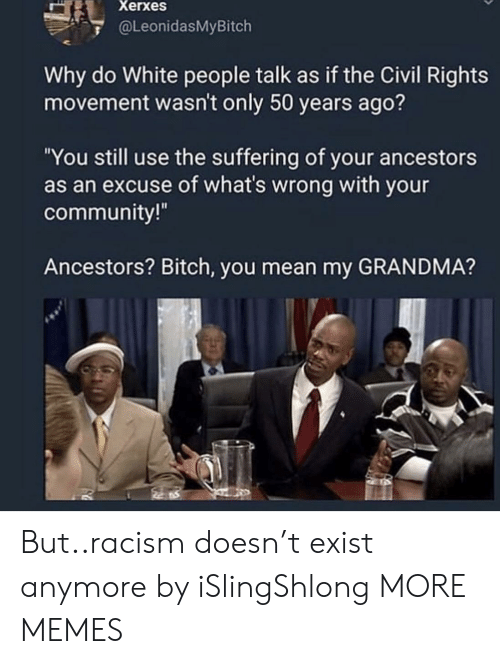 "Bitch, Community, and Dank: Xerxes  @LeonidasMyBitch  Why do White people talk as if the Civil Rights  movement wasn't only 50 years ago?  ""You still use the suffering of your ancestors  as an excuse of what's wrong with your  community!  Ancestors? Bitch, you mean my GRANDMA? But..racism doesn't exist anymore by iSlingShlong MORE MEMES"