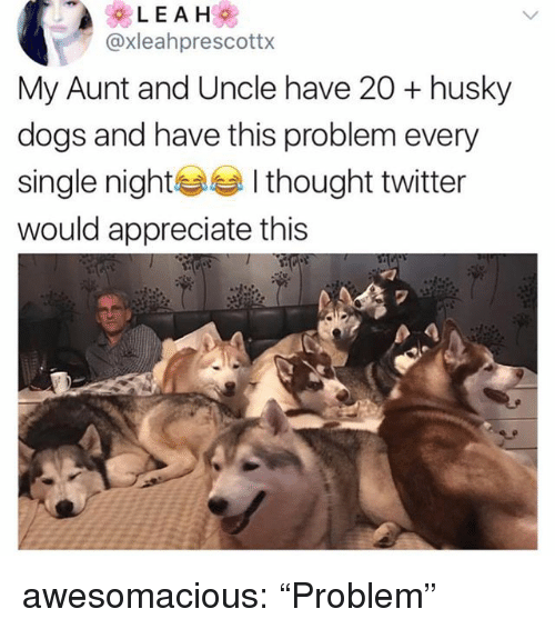"Dogs, Tumblr, and Twitter: @xleahprescottx  My Aunt and Uncle have 20 + husky  dogs and have this problem every  single nightI thought twitter  would appreciate this  2 awesomacious:  ""Problem"""