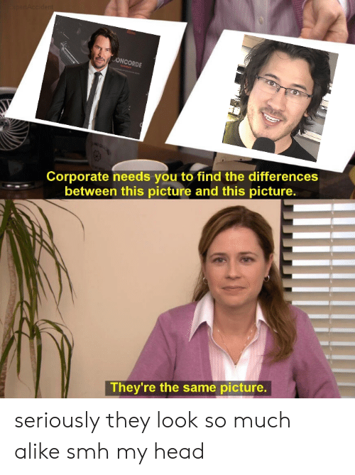 Head, Reddit, and Smh: xpertAccident  ONCORDE  Corporate needs you to find the differences  between this picture and this picture.  They're the same picture. seriously they look so much alike smh my head
