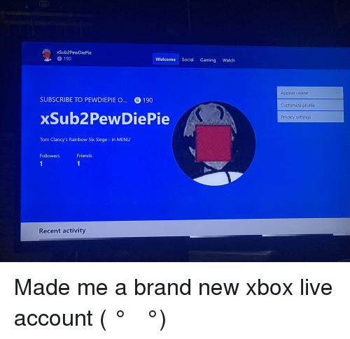 xSub2PewDiePie 190 Welcome Social Gaming Watch Appear Online