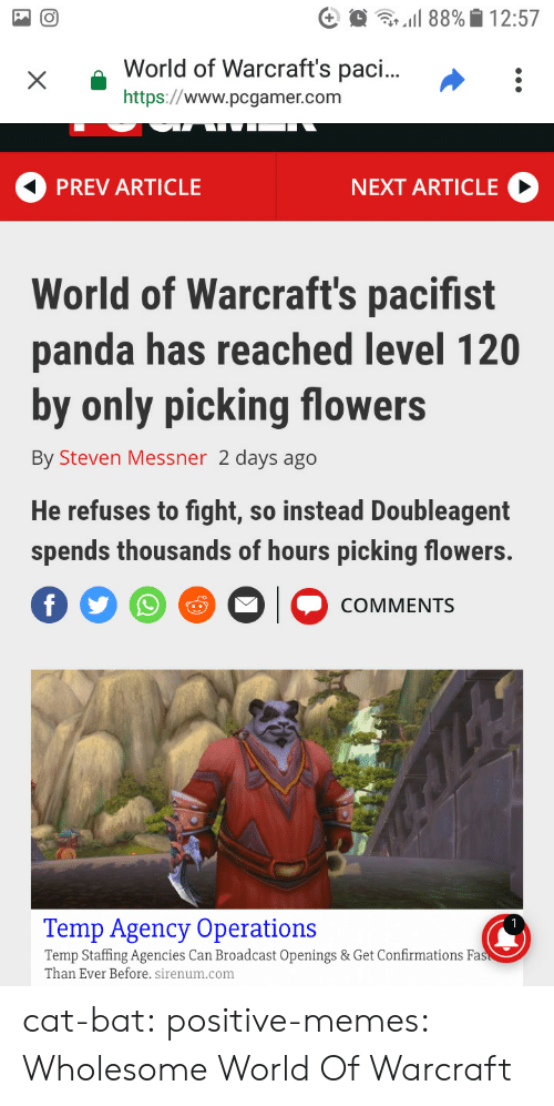Memes, Tumblr, and Panda: xWorld  of Warcraft's pac...:  https://www.pcgamer.com  PREV ARTICLE  NEXT ARTICLE  World of Warcraft's pacifist  panda has reached level 120  by only picking flowers  By Steven Messner 2 days ago  He refuses to fight, so instead Doubleagent  spends thousands of hours picking flowers.  COMMENTS  Temp Agency Operations  Temp Staffing Agencies Can Broadcast Openings & Get Confirmations Fa  Than Ever Before. sirenum.com cat-bat:  positive-memes: Wholesome World Of Warcraft