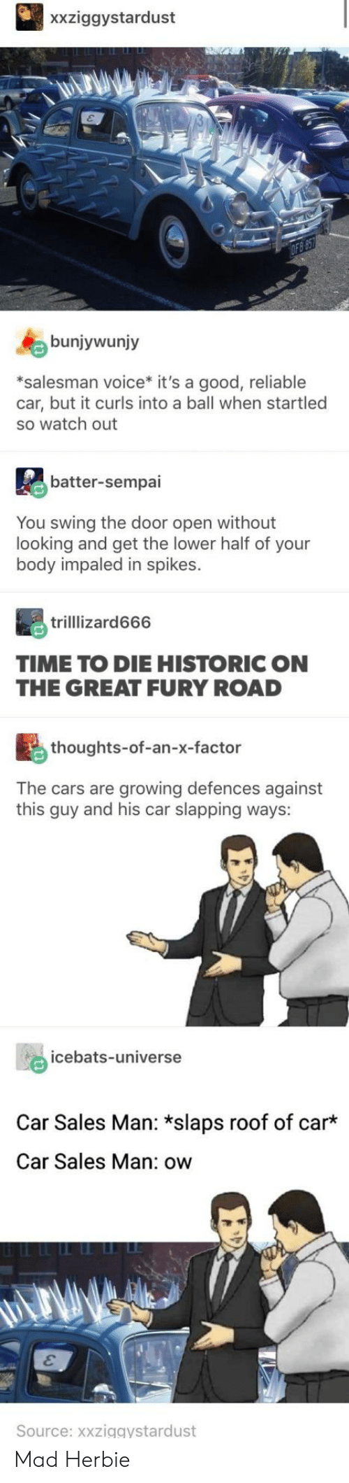 Cars, Watch Out, and Good: xxziggystardust  bunjywunjy  *salesman voice* it's a good, reliable  car, but it curls into a ball when startled  so watch out  batter-sempai  You swing the door open without  looking and get the lower half of your  body impaled in spikes.  trilllizard666  TIME TO DIE HISTORIC ON  THE GREAT FURY ROAD  thoughts-of-an-x-factor  The cars are growing defences against  this guy and his car slapping ways:  icebats-universe  Car Sales Man: *slaps roof of car  Car Sales Man: ow  Source: xxziggystardust Mad Herbie