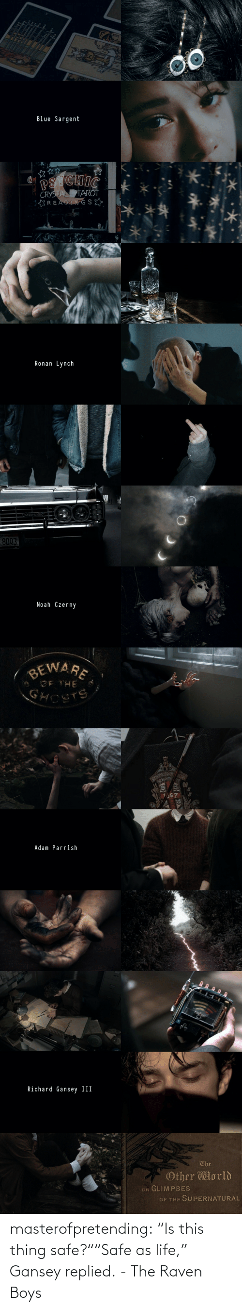 """Life, Target, and Tumblr: XYI  Blue Sargent  PS CHIC  CRYSTAL TAROT  :READANG SE  *.**   Ronan Lynch   hevrolet  8003  Noah Czerny  BEWARE  GF THE  GHOSTS   67  Adam Parrish  EV{E   Richard Gansey II  The  Other lorld  OR GLIMPSES  OF THE SUPERNATURAL masterofpretending: """"Is this thing safe?""""""""Safe as life,"""" Gansey replied. - The Raven Boys"""