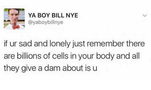 Bill Nye, Sad, and Boy: YA BOY BILL NYE  @yaboybillnye  if ur sad and lonely just remember there  are billions of cells in your body and all  they give a dam about is u