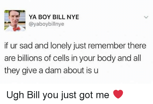 Bill Nye, Funny, and Sad: YA BOY BILL NYE  @yaboybillnye  if ur sad and lonely just remember there  are billions of cells in your body and all  they give a dam about is u Ugh Bill you just got me ❤️