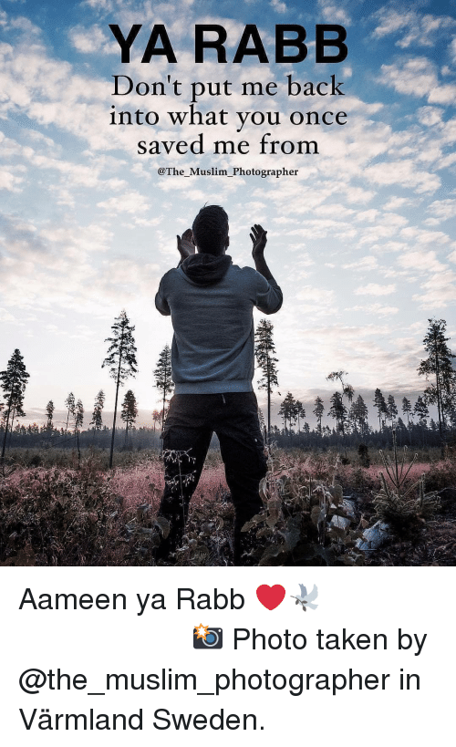 Memes, Muslim, and Taken: YA RABB  Don't Dut me back  into what you once  saved me from  @The Muslim Photographer Aameen ya Rabb ❤️🕊 ▃▃▃▃▃▃▃▃▃▃▃▃▃▃▃▃▃▃▃▃ 📸 Photo taken by @the_muslim_photographer in Värmland Sweden.