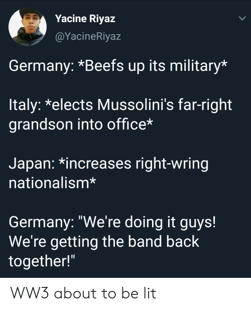 """Lit, Germany, and Japan: Yacine Riyaz  @YacineRiyaz  Germany: *Beefs up its military*  ltaly: *elects Mussolini's far-right  grandson into office*  Japan: *increases right-wring  nationalism*  Germany: """"We're doing it guys!  We're getting the band back  together!"""" WW3 about to be lit"""