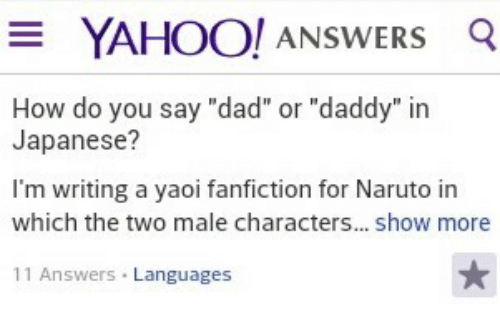 YAHOO! ANSWERS Q How Do You Say Dad or Daddy in Japanese? I