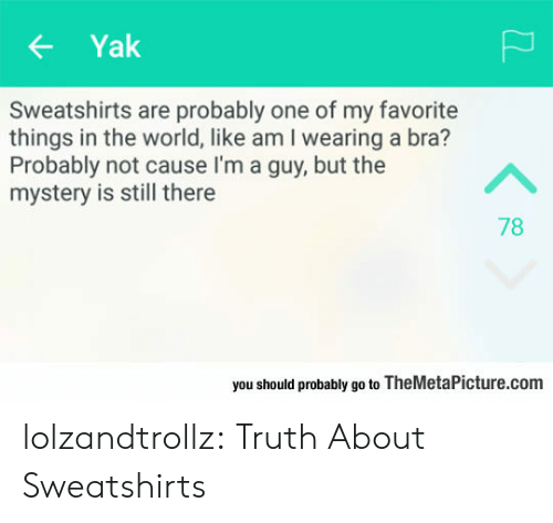 Tumblr, Blog, and World: Yak  Sweatshirts are probably one of my favorite  things in the world, like am I wearing a bra?  Probably not cause I'm a guy, but the  mystery is still there  A  78  you should probably go to TheMetaPicture.com lolzandtrollz:  Truth About Sweatshirts