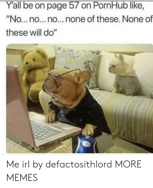 """Dank, Memes, and Pornhub: Y'all be on page 57 on PornHub like,  """"No...no... no... none of these. None of  these will do"""" Me irl by defactosithlord MORE MEMES"""
