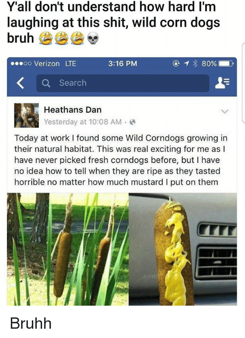 Bruh, Dogs, and Fresh: Y'all don't understand how hard l'm  laughing at this shit, wild corn dogs  bruh  oo Verizon LTE  3:16 PM  80%  Search  Heathans Dan  Yesterday at 10:08 AM  Today at work found some Wild Corndogs growing in  their natural habitat. This was real exciting for me as  have never picked fresh corndogs before, but I have  no idea how to tell when they are ripe as they tasted  horrible no matter how much mustard l put on them Bruhh