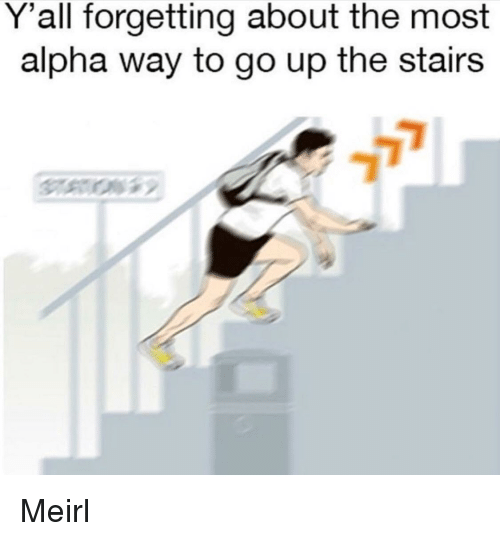 MeIRL, Alpha, and Yall: Y'all forgetting about the most  alpha way to go up the stairs Meirl
