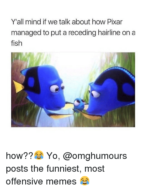 Hairline, Memes, and Pixar: Y'all mind if we talk about how Pixar  managed to put a receding hairline on a  fish  IS how??😂 Yo, @omghumours posts the funniest, most offensive memes 😂