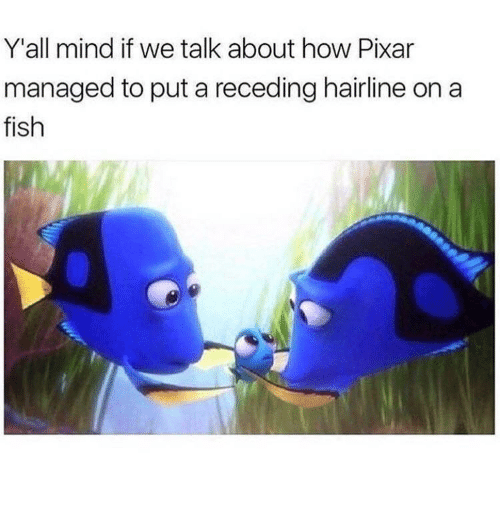 Hairline, Pixar, and Fish: Y'all mind if we talk about how Pixar  managed to put a receding hairline on a  fish