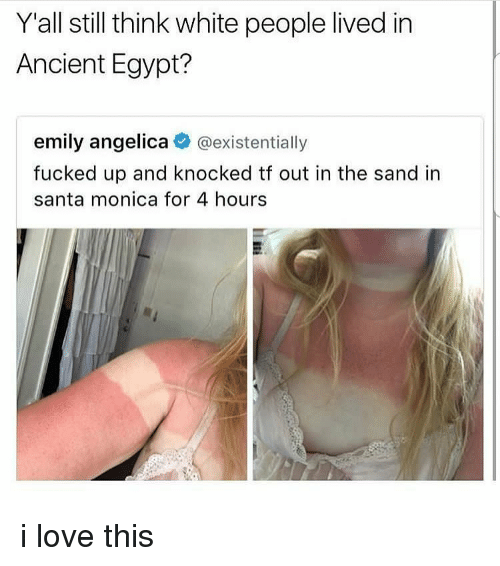 Love, Memes, and White People: Y'all still think white people lived in  Ancient Egypt?  emily angelica @existentially  fucked up and knocked tf out in the sand in  santa monica for 4 hours i love this