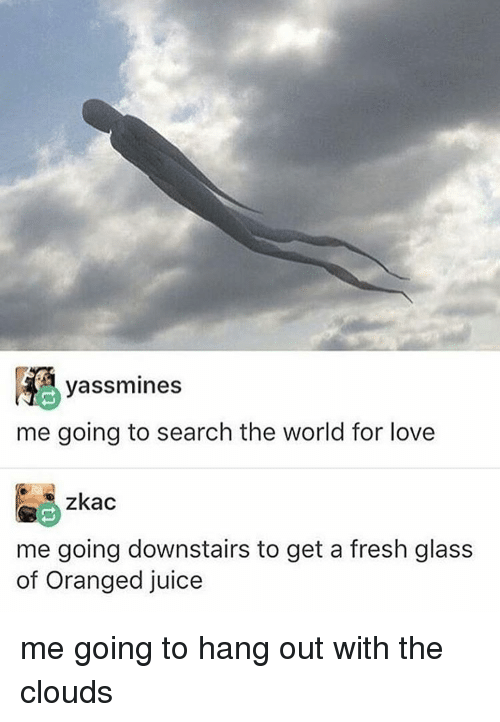 Memes, 🤖, and Glass: yassimines  me going to search the world for love  zkac  me going downstairs to get a fresh glass  of Oranged juice me going to hang out with the clouds