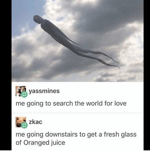 Fresh, Ironic, and Juice: yassmines  me going to search the world for love  zkac  me going downstairs to get a fresh glass  of Oranged juice