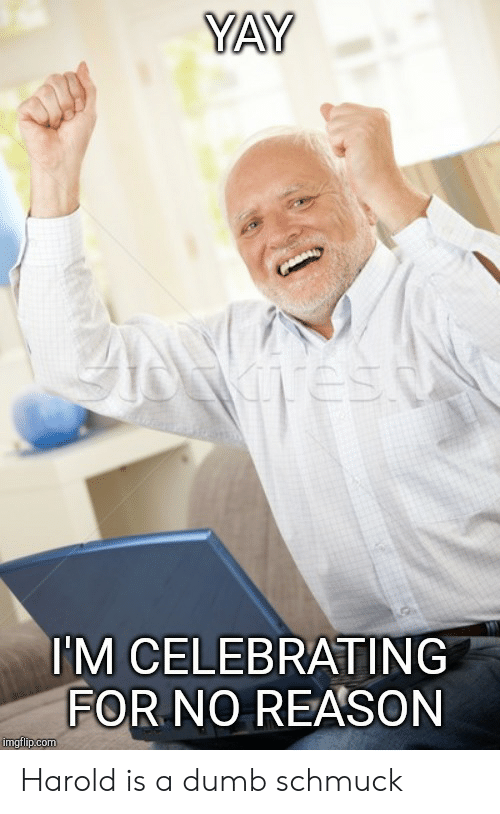 Yay I M Celebrating For No Reason Imgflipcom Harold Is A Dumb Schmuck Dumb Meme On Me Me Implied sexual tension, intentional or otherwise, between two (or more) characters to make the average fan reach for the brain bleach, for. dumb schmuck dumb meme