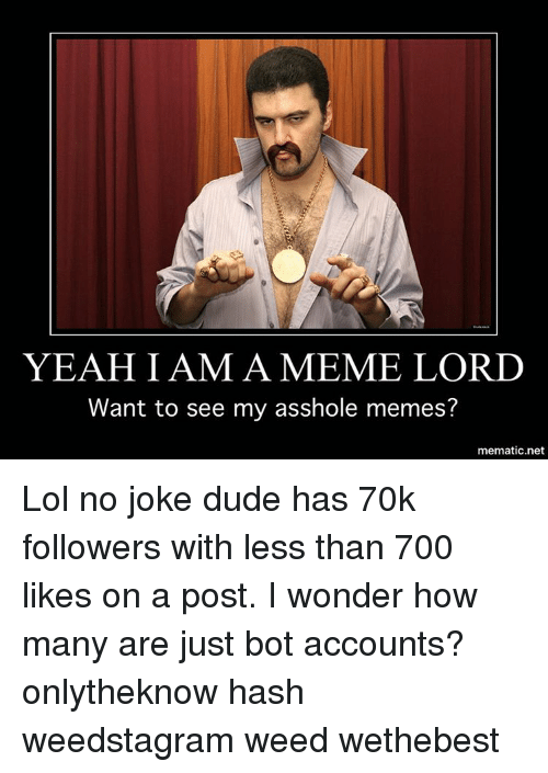 Memes, 🤖, and Hash: YEAH I AM A MEME LORD  Want to see my asshole memes?  mematic net Lol no joke dude has 70k followers with less than 700 likes on a post. I wonder how many are just bot accounts? onlytheknow hash weedstagram weed wethebest