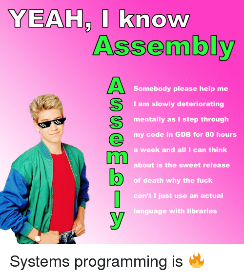 Yeah, Death, and Fuck: YEAH, I know  Assembly  Somebody please help me  I am slowly deteriorating  mentally as I step through  my code in GDB for 80 hours  a week and all I can think  about is the sweet release  O) of death why the fuck  can't I just use an actual  language with libraries