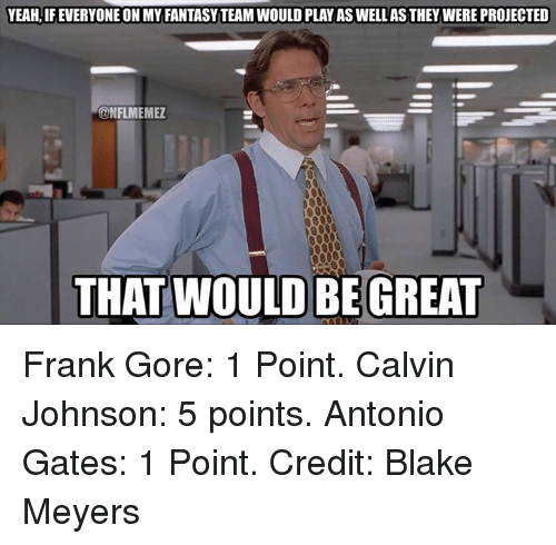 Calvin Johnson, Nfl, and Yeah: YEAH, IFEVERYONE ON MY FANTASYTEAMWOULD PLAY AS WELLASTHEY WERE PROJECTED  CONFLMEMEZ  THAT WOULD BE GREAT Frank Gore: 1 Point. Calvin Johnson: 5 points. Antonio Gates: 1 Point.  Credit: Blake Meyers
