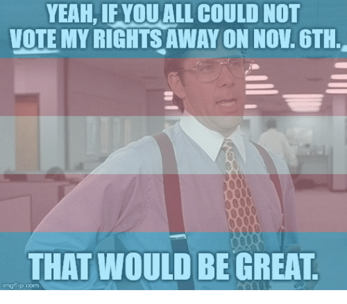 Yeah, Com, and Nov: YEAH, IFYOUALL COULD NOT  VOTEMY RIGHTS AWAY ON NOV 6TH-  THAT WOULD BE GREAT  imgflip.com