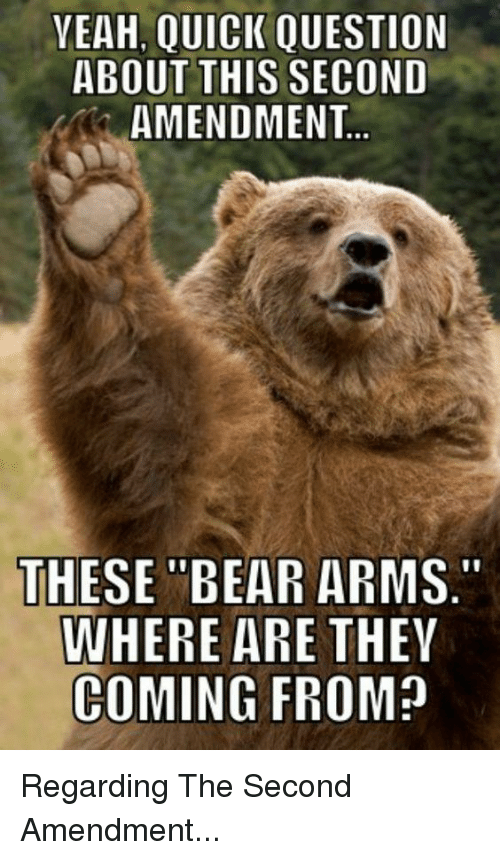 "Yeah, Bear, and Bears: YEAH,  QUICK QUESTION  ABOUT THIS SECOND  AMENDMENT  THESE ""BEAR ARMS.""  WHERE ARE  THEY  COMING FROM? Regarding The Second Amendment..."