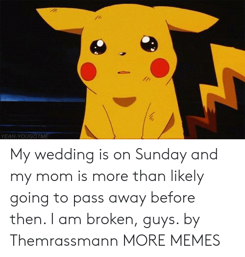 Dank, Memes, and Target: YEAH YOUGOTME My wedding is on Sunday and my mom is more than likely going to pass away before then. I am broken, guys. by Themrassmann MORE MEMES