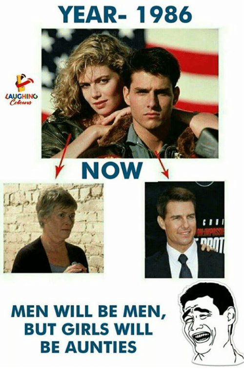 Girls, Indianpeoplefacebook, and Will: YEAR-1986  LAUGHING  Coker  NOW  DII  MEN WILL BE MEN,  BUT GIRLS WILL  BE AUNTIES