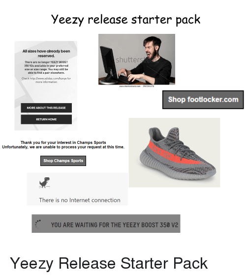 Adidas, Internet, and Kanye: yeezy release starter pack All sizes have  already been