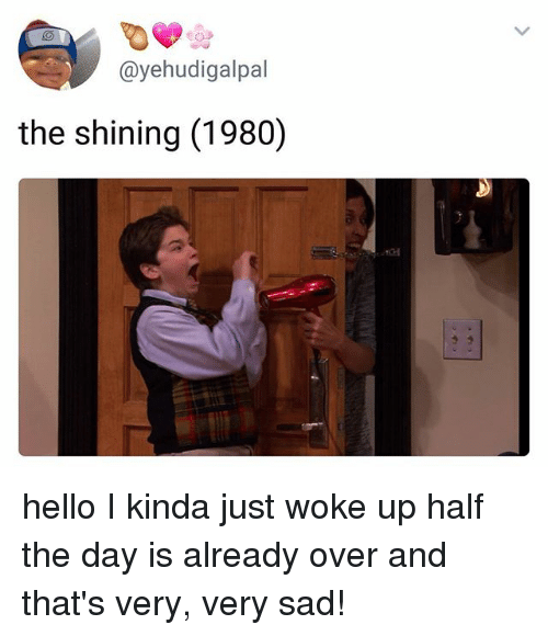 Hello, Ironic, and The Shining: @yehudigalpal  the shining (1980) hello I kinda just woke up half the day is already over and that's very, very sad!