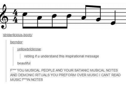 Beautiful, Music, and Humans of Tumblr: yellowbrickrose:  reblog if u understand this inspirational message  beautiful  F*** YOU MUSICAL PEOPLE AND YOUR SATANIC MUSICAL NOTES  AND DEMONIC RITUALS YOU PREFORM OVER MUSICI CANT READ  MUSIC f IN NOTES