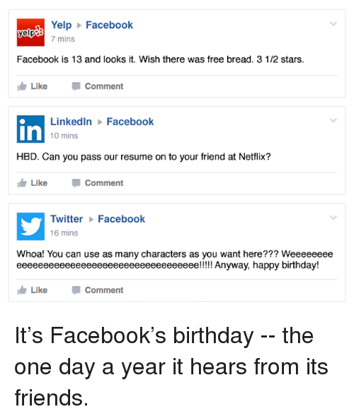 yelp facebook yelp 7 mins facebook is 13 and looks it wish there was free bread 3 12 stars like